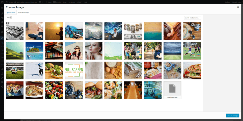 Upload an image from the media library